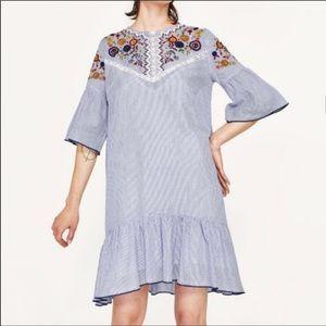 Zara embroidered top blue white stripe dress